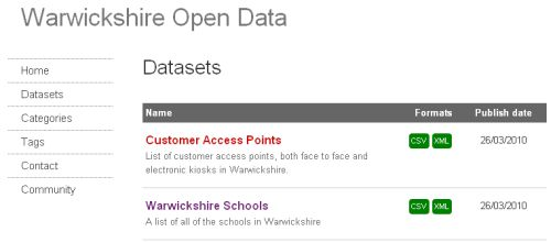 a mini screenshot from our open data catalogue front end